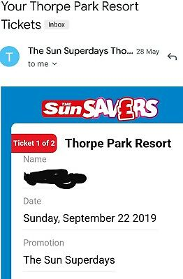4 X Thorpe Park Tickets For Sunday 22Nd September 2019...Buy Now £35