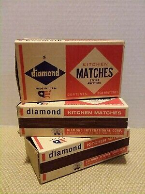 DIAMOND Strike Anywhere Matches 3 Pack 750 count  RED & White TIP Rare