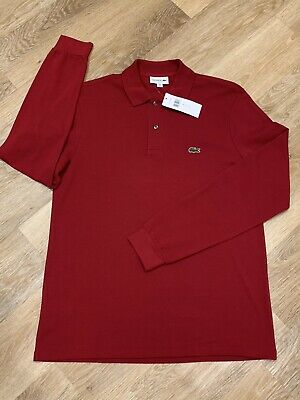 LACOSTE Classic Long Sleeved Polo Shirt Bordeaux Red Size 8 3XL NEW  RRP £90