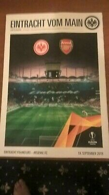 Eintracht Frankfurt  v  Arsenal  19 September 2019 Official Europa League Prog