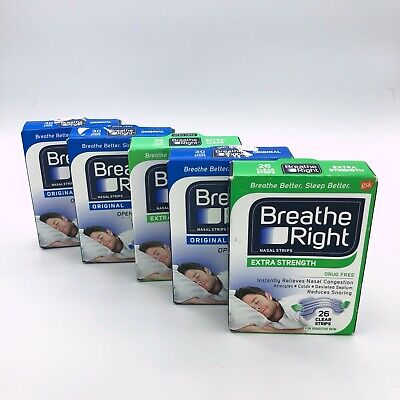 BREATHE RIGHT 90 Tan Original Nasal Congestion Strips Large + 52 Extra Strength