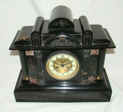 Antique Slate & Marble mantel Clock - JAPY FRERES Movement, Lovely Design & Key