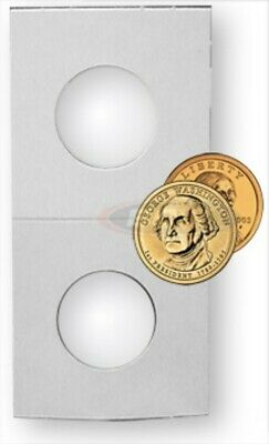 (50) Bcw Small Dollar 2X2 Mylar White Paper Coin Flip Stoage Holders