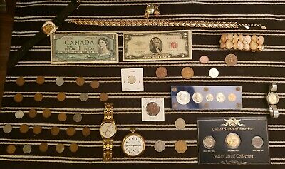 Junk Drawer Lot: Old Coins, Jewelry, Pocket Watch, Scrap Silver, Currency ++