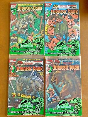 Jurassic Park #1 2 3 4 Topps Comics Complete Set With Cards & Still Sealed