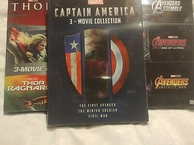 Marvel Lot - THOR: 3 Movie Collection, Avengers Trilogy, Captain America Trilogy