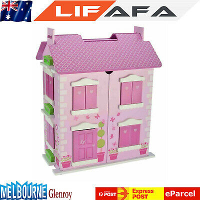 Bubbadoo Barbie Size Wooden Pastel Dollhouse Doll Playhouse Toy for Girls