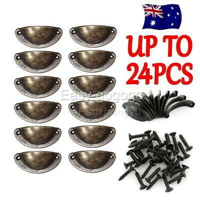 UP 24X Cupboard Cabinet Cup Drawer Furniture Antique Shell Pull Handles + Screws