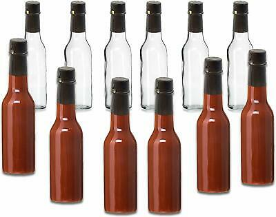 Premium Vials Clear 5 Oz Glass Woozy Hot Sauce Bottles with Shrink Capsules C...
