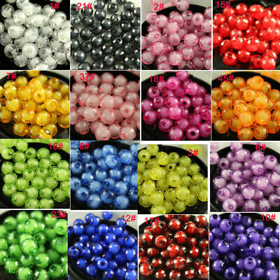 8/10/12mm Round faceted Acrylic plastic Spacer Beads Craft Jewelry Making pk co