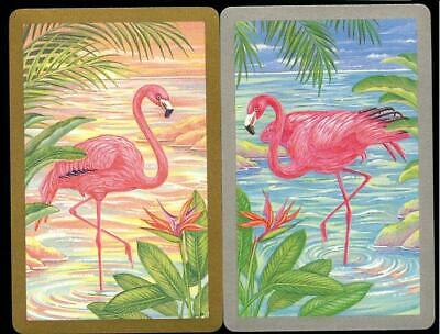 Vintage Swap Cards Pink Flamingo Birds In A Lake New Condition