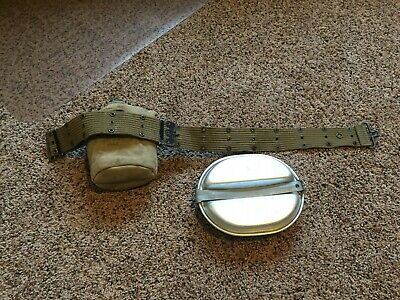 WW2 US Army USMC 1945 Vollrath Canteen And Mess Kit w/ 1942 Cover and Belt WWII