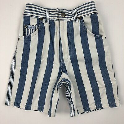 Vintage 90s Chic Girls Denim Jean Shorts Blue White Striped 6x Deadstock