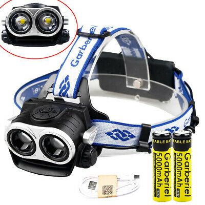 60000LM 2x T6 LED USB 18650 Rechargeable Headlamp Head Torch Hunt Light +Battery