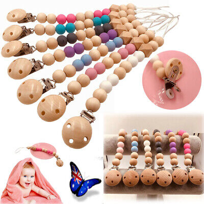 Wooden Baby Infants Nipple Holder Chewing Toy Pacifier Clip Chain Soother Beads