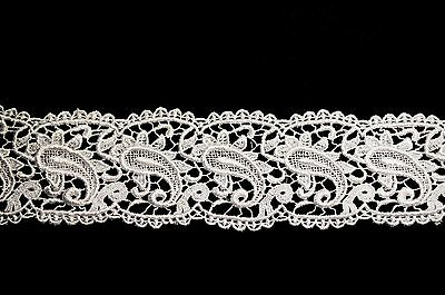 """Lily 3.25"""" White Black Paisley Pattern Venice Lace Trim Sewing Crafts by Yard"""