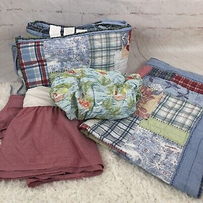 Pottery Barn Kids Cot Quilt Set Bumper Valance Adairs Fitted Sheet