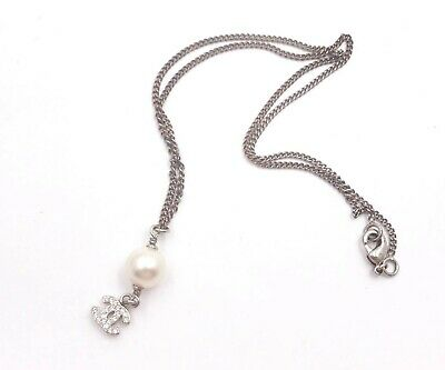 Chanel Silver CC Crystal Pearl Dangle Necklace