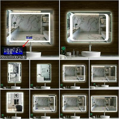 LED Illuminated Bathroom Mirror Wall Light Up Touch Switch Sensor Demister Pad