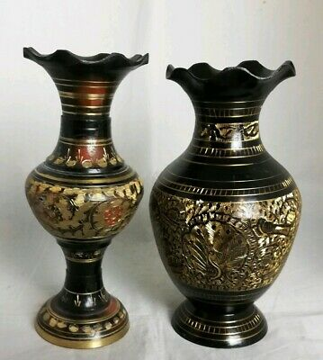 Two Beautiful Orential Brass Vases