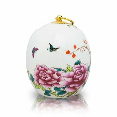 Butterfly Ceramic Cremation Urn for Ashes - Medium  White