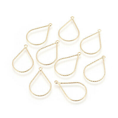 10x Brass Hollow Drop Charms Textured Real Gold Plated Loop Dangle Pendants 27mm