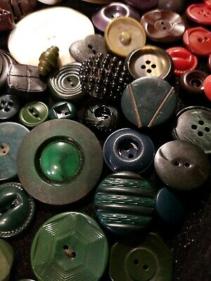 Lot of Vintage Antique Buttons Bakelite Celluloid MOP Metal Nearly a Lb #46