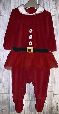 Girls Age 9-12 Months - Next All In One Christmas Suit - Excellent Condition