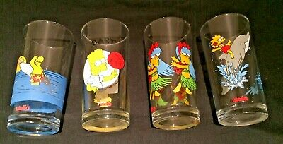 Simpsons Collectible Glasses - Four - Nutella - 1990s
