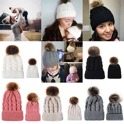 1/2PCS Warm Winter Mom&Newborn Baby Boy Girl Hat Knit Fur Pom Bobble Beanie Cap