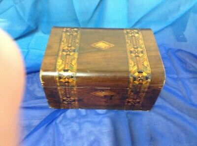 Beautiful Vintage Inlaid Wooden Marquetry Box with Hinged Lid, Tunbridge Ware