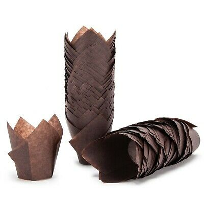 200  Large Tulip Muffin Cases Cupcake/muffin Wraps Chocolate Brown Wrappers