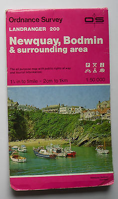 1988 old vintage OS Ordnance Survey Landranger map 200 Newquay, Bodmin etc
