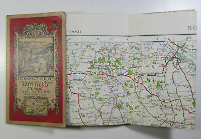vintage 1929 OS Ordnance Survey one-inch Popular Edition Map 108 Southend & Dist