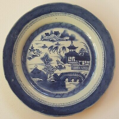 ANTIQUE CHINESE PORCELAIN BLUE & WHITE 18th CENTURY PLATE 'RAIN-CLOUD' PATTERN