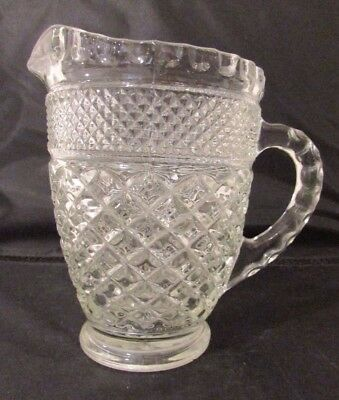 Vintage Pitcher Creamer Pressed Glass Diamond Pattern and Ribbed Handle 5 1/2""
