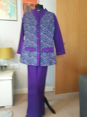 Vintage Purple/Pattern 2Pce Ladies Pant Suit /Mod/Psych 60S/70S