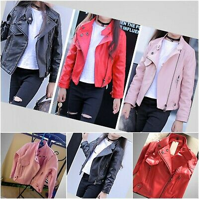 Girls Jacket Faux Leather PU Long Sleeves Outwear Autumn Black Age 4-12 years