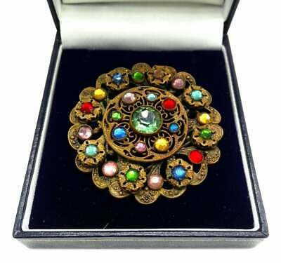 Art Deco Bohemian Czech Glass Multicoloured Gemstone Brass Filigree Large Brooch