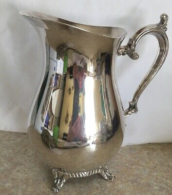 Silver Plated Water Pitcher With Ice Lip