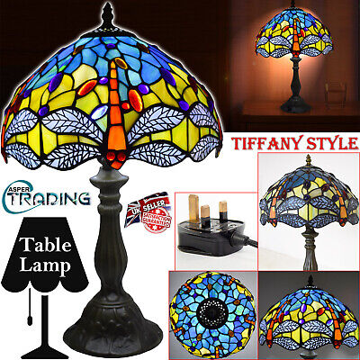 """Tiffany Style Handcrafted Glass Table Bedside Home Decor Light Lamp 12"""" Shade UK"""