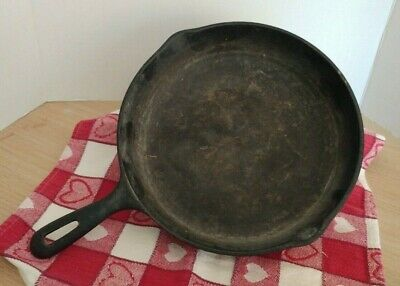 "Large Cast Iron Skillet 10"" unbranded antique has not been refurbished cookware"