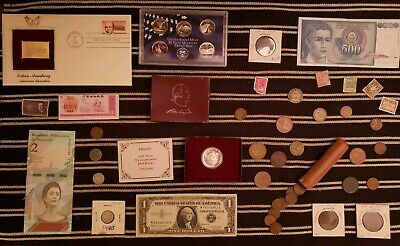 Junk Drawer Lot: OLD COINS 1861+, Scrap Silver, Proofs, WHEAT PENNY ROLL VINTAGE
