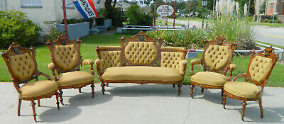 Walnut Victorian Parlor Set~Sofa~2 Gentlemans Chairs~2 Ladies Chairs~Herter Bros