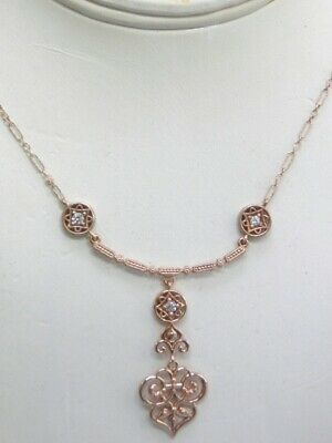 Solid 14Kt Rose Gold Genuine Natural Diamond Filigree Deco Lavaliere Necklace