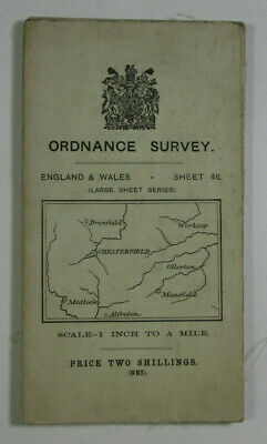 1912 Old OS Ordnance Survey One-Inch 3rd Ed Map 46 Matlock Chesterfield Worksop