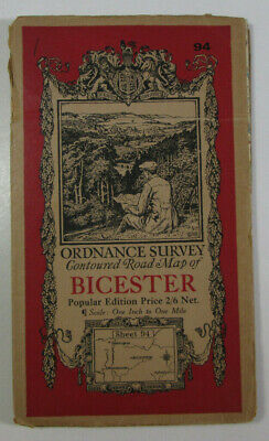1932 Old Vintage OS Ordnance Survey Popular Edition One-Inch Map 94 Bicester