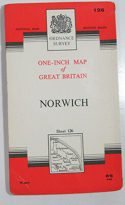 1960 old vintage OS Ordnance Survey Seventh Series one-inch map 126 Norwich