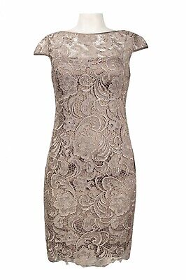 Adrianna Papell Cap Sleeve Floral Crochet Lace Dress - Excellent Condition