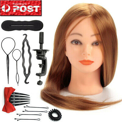 24'' Human Hair Training Practice Head Mannequin Hairdressing +10X Braid Tool